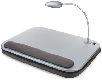 Elevation Slate Gray Lap Desk with LED Light and Adjustable Base