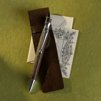 Spumoni Ballpoint Pen in Chocolate Leather