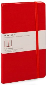 Moleskine Large Red Ruled 5x8 Notebook