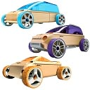 Automoblox Mini 3-Pack Orange Convertible, Purple Sports Utility, Blue Sport Van by Automoblox: Product Image