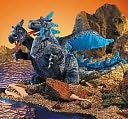 Blue Three-Headed Dragon Plush Toy by Folkmanis: Product Image