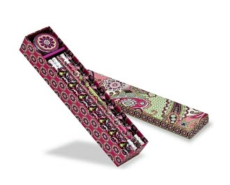 Vera Bradley Very Berry Paisley Pencil Box / 12 Pencils and Sharpener
