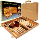 Deluxe Wooden Backgammon Set by Trademark Games: Product Image