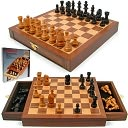 Inlaid Walnut style Wood Cabinet with Staunton Wood Chessmen by Trademark Games: Product Image