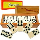 Premium Set of 28 Double Six Dominoes with Wood Case by Trademark Games: Product Image