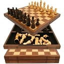 Chess Board Walnut Book Style with Staunton Chessmen by Trademark Games: Product Image