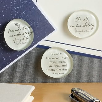 Script Quotes Handcrafted Glass Magnets