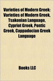 BARNES & NOBLE | Varieties of Modern Greek: Tsakonian Language ...