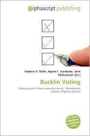 BARNES & NOBLE | Bucklin Voting by Frederic P. Miller | Paperback