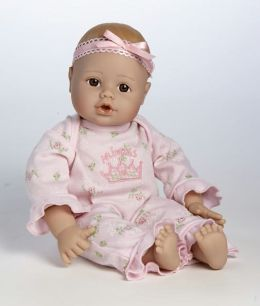 Adora Playtime Babies Light Brown Skintone & Brown Eyes Blue with Green & White Romper & Hat 13 inch Baby Doll