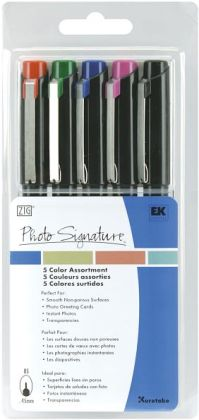 Photo Signature Markers 5/Pkg-Black/Blue/Red/Green/Violet