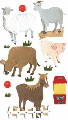 Jolees 358712 Jolees Boutique Le Grande Dimensional Sticker-Petting Zoo - Pack of 3