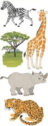 Touch Of Jolee's Dimensional Sticker-Safari Animals