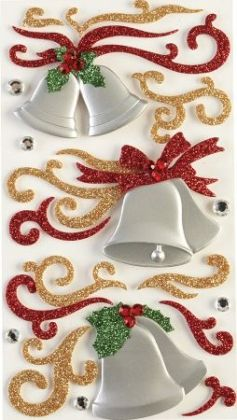 Jolees 121325 Jolees Boutique Le Grande Sticker-Flourishes and Silver Bells - Pack of 3