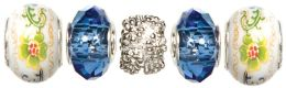Trinkettes Glass & Metal Beads 5/Pkg-Blue Crystal