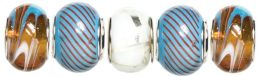 Trinkettes Glass & Metal Beads 5/Pkg-Orange & Blue Swirl