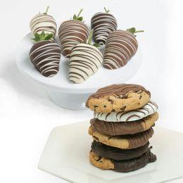 12 pc. Belgian Chocolate Covered Strawberries & Cookies Assortment