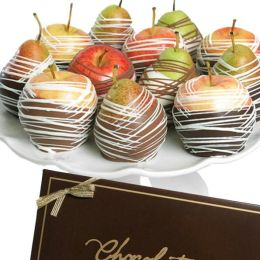 12 Gourmet Belgian Chocolate Apples & Pears