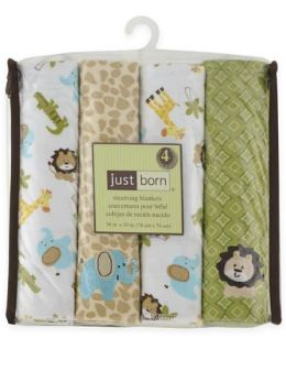 Triboro Just Born Flannel Receiving Blankets 4 Pack, Jungle Mosaic