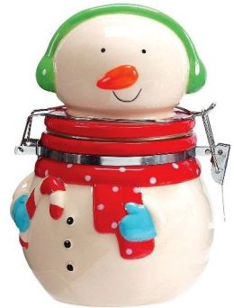 Holly Jolly Snowman Hinged Jar