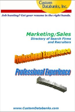 Marketing/Sales Manager Directory of Search Firms and Recruiters
