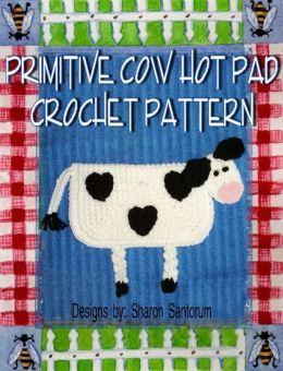 Primitive Cow Hot Pad Crochet Pattern