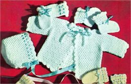 Crochet Baby Beauty Set Pattern for Booties, Sweater, Mittens and Hat