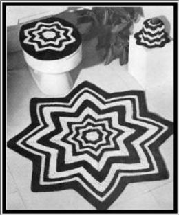 Crochet Bathroom Set - Pattern for Crochet Rug, Toilet Seat Cover and Tissue Topper