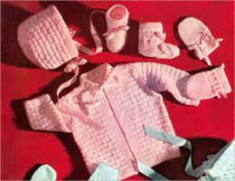 Knit a Baby Set Pattern - Knitted Baby Set Block Set Pattern for Jacket, Cap, Booties, Mittens