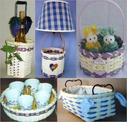 30 Awesome Basket Weaving Patterns - Bag Basket, Berry Picking Time, Big Curvy Basket, Catch All Basket, Double Rim Storage, Drink Carrier, Easter Egg Basket, Easy Wood Bottom Basket, Fall Bucket, From The Heart, Frosty's Wall Basket, and more...