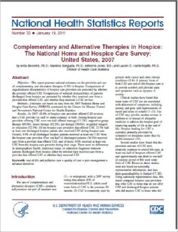 Complementary and Alternative Therapies in Hospice: The National Home and Hospice Care Survey: United States, 2007