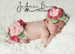 pattern 132 Fancy diaper cover and headband set pattern-4 sizesFrom CrochetMyLove