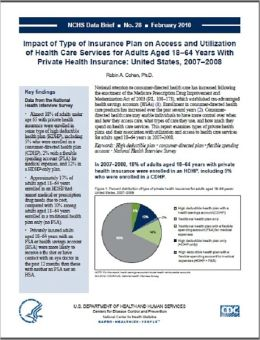 Impact of Type of Insurance Plan on Access and Utilization of Health Care Services for Adults Aged 18–64 Years With Private Health Insurance: United States, 2007–2008