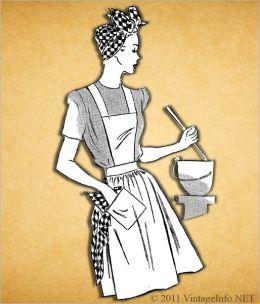 Unbleached Muslin Apron Pattern / Vintage Apron Pattern / 1940's (#APR0108)
