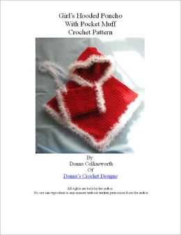 Red Hooded Poncho in Child's Sizes Crochet Pattern