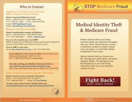 Medical Identity Theft and Medicare Fraud