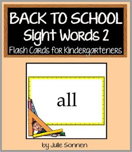 Back to School Sight Words 2 - Flash Cards for Kindergarteners