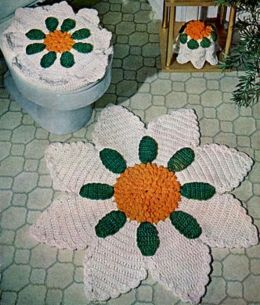 Bathroom Deluxe Set Pattern - Rug - Seat Cover - Tissue Topper