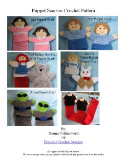 8 Different Character Puppet Scarves Crochet Pattern