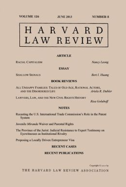Harvard Law Review: Volume 126, Number 8 - June 2013