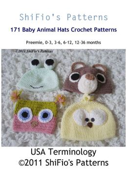 171 Animal Hats Crochet Pattern #171