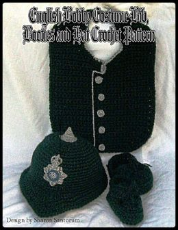 English Bobby Costume Bib, Booties and Hat Crochet Pattern