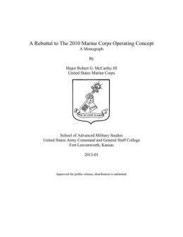 A Rebuttal to The 2010 Marine Corps Operating Concept