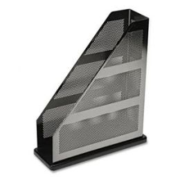 Rolodex E22635 Distinctions Metal/Wood Magazine File- 3 3/4 x 10 1/4 x 12 7/16- Black