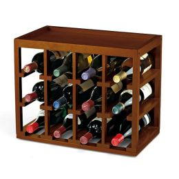 12 Bottle Cube-Stack Wine Rack in Walnut Stain