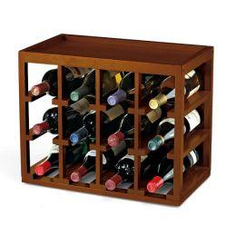 12 Bottle Cube-Stack Wine Rack in Walnut Stain