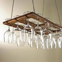 Hanging Oak Wine Glass Rack
