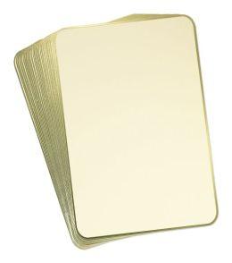 Ecru Rounded Menu Cards in Gold