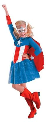 Captain America Girl Classic Toddler/Child Costume: Size Toddler (3T-4T)