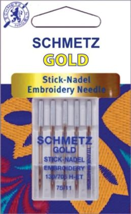 Gold Embroidery Machine Needles-Size 11/75 5/Pkg